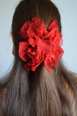 Ruffled Red Hair Clip