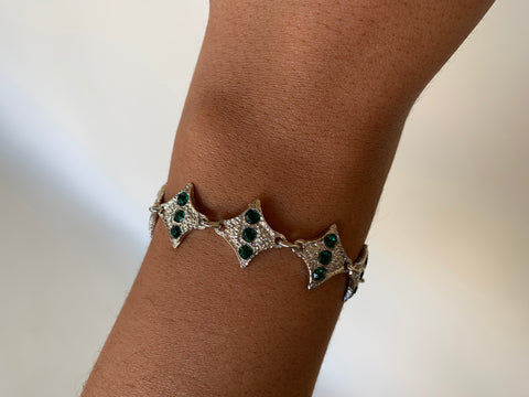 Small Green Gem Diamond Bracelet
