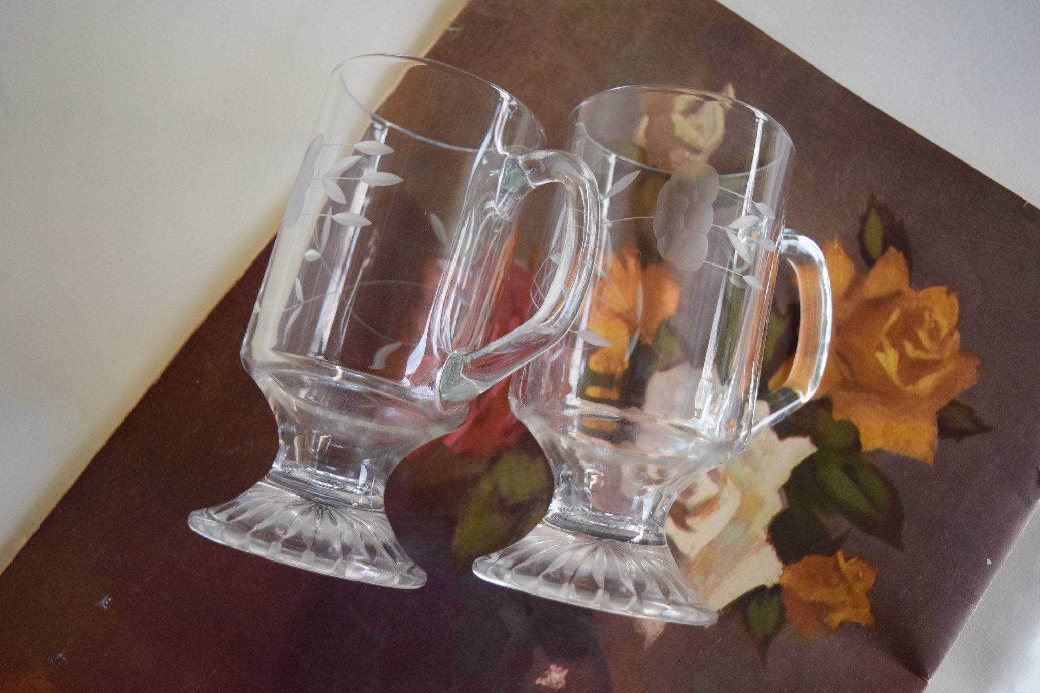 Etched Floral Mugs