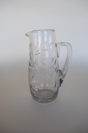 Etched Glass Pouring Pitcher