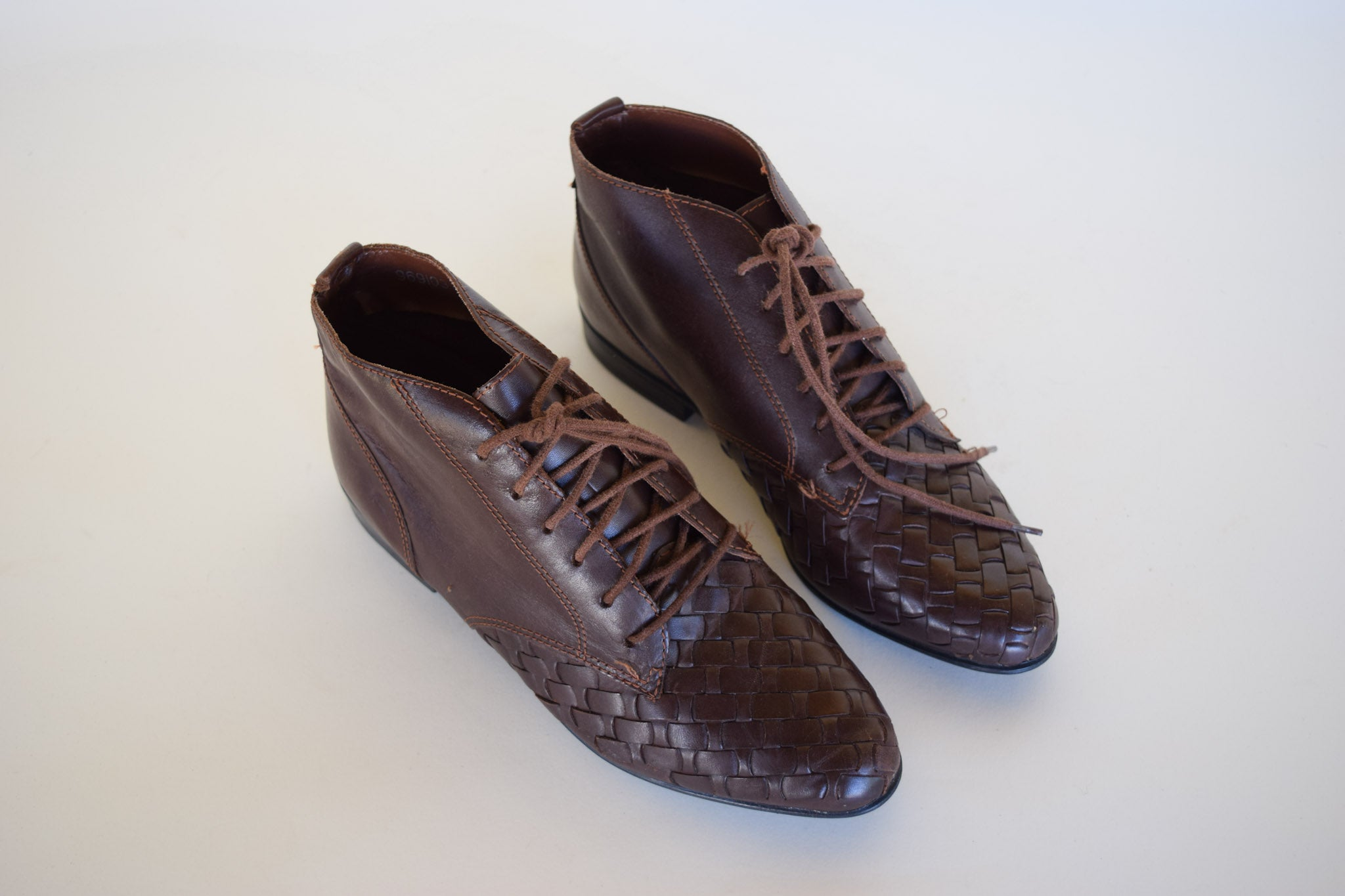 Woven Ankle Leather Boots
