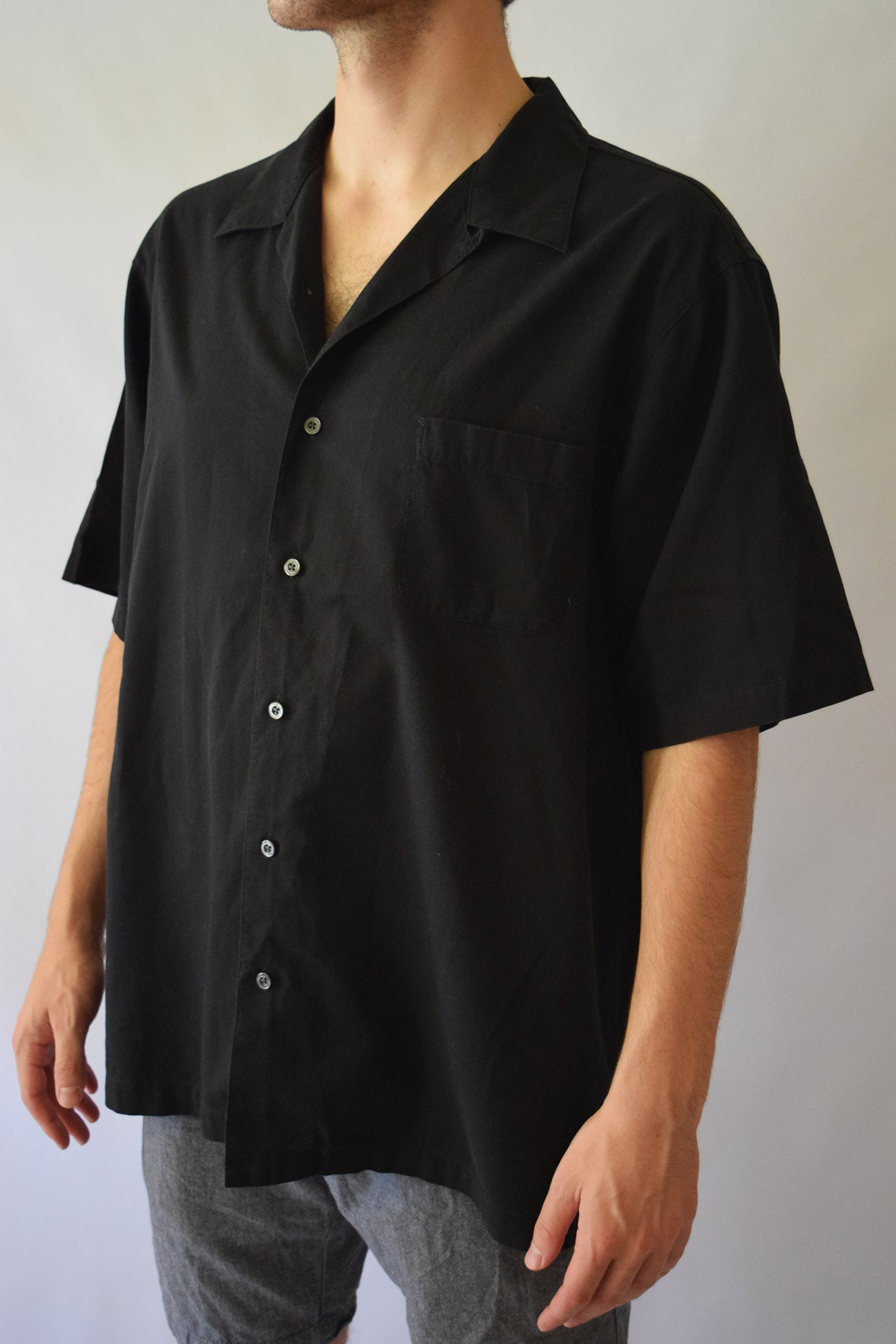 Men's Black Button Up