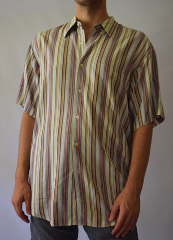 Men's Striped Button Up