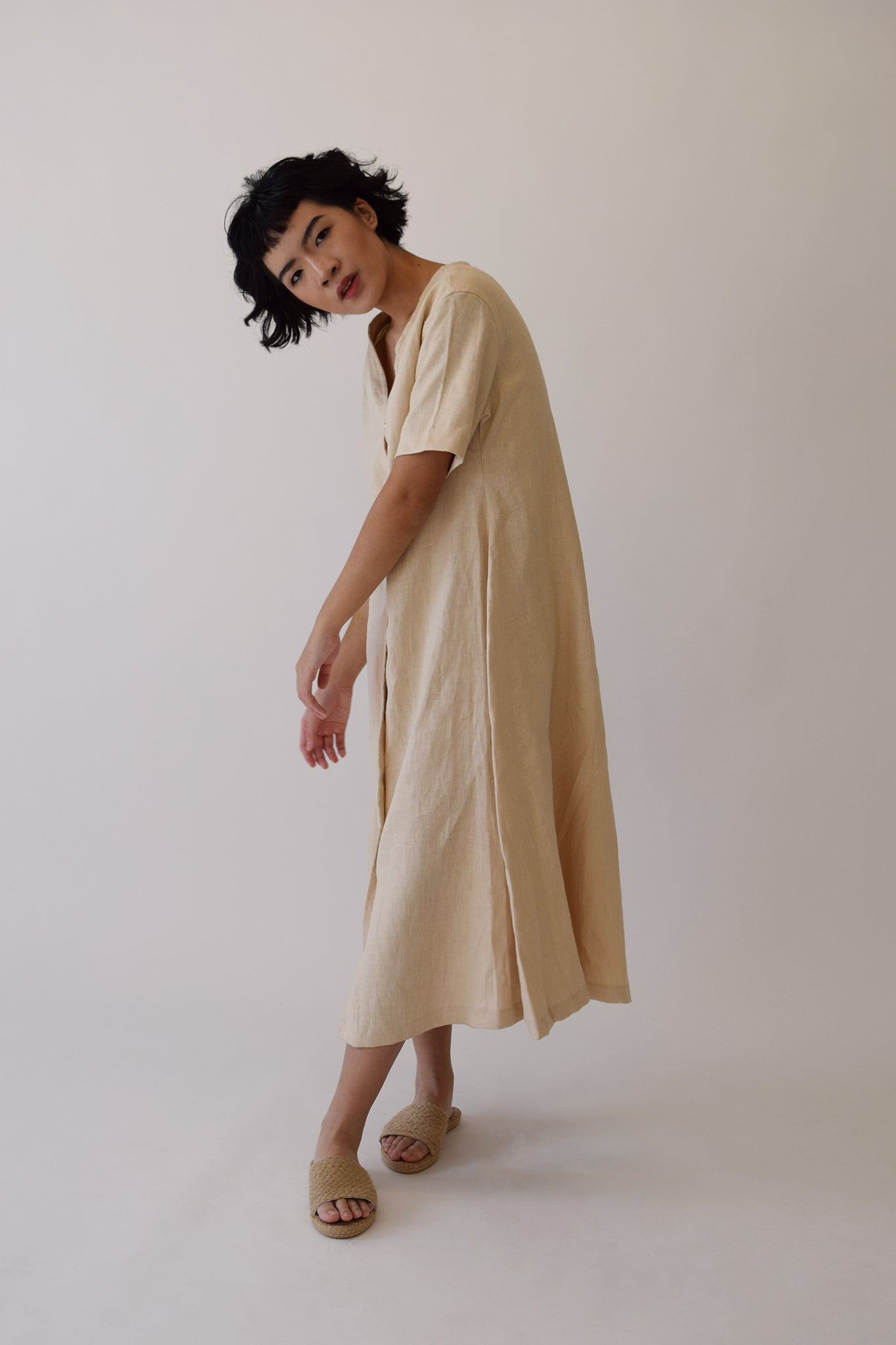 Ecru Linen Carina Button Dress