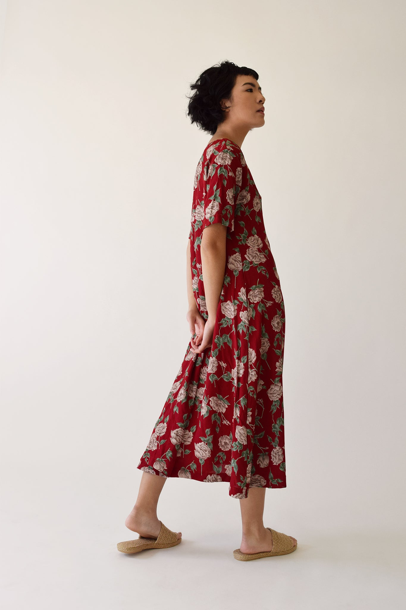 Red Floral Carina Button Dress