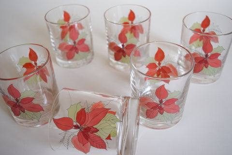 Floral Low Ball Glass Set