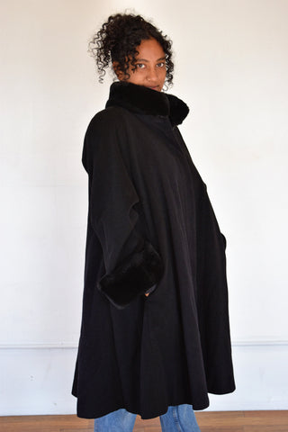 Faux Fur Trimmed Swing Coat