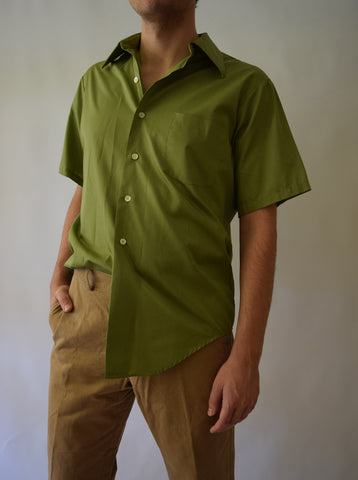 Men's Vintage Green Button Up