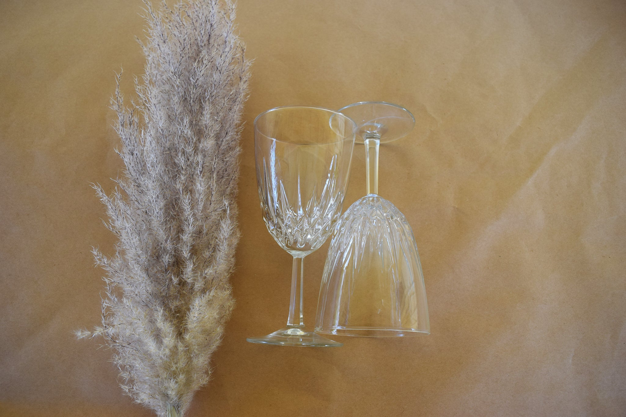 French Crystal Wine Glass Pair