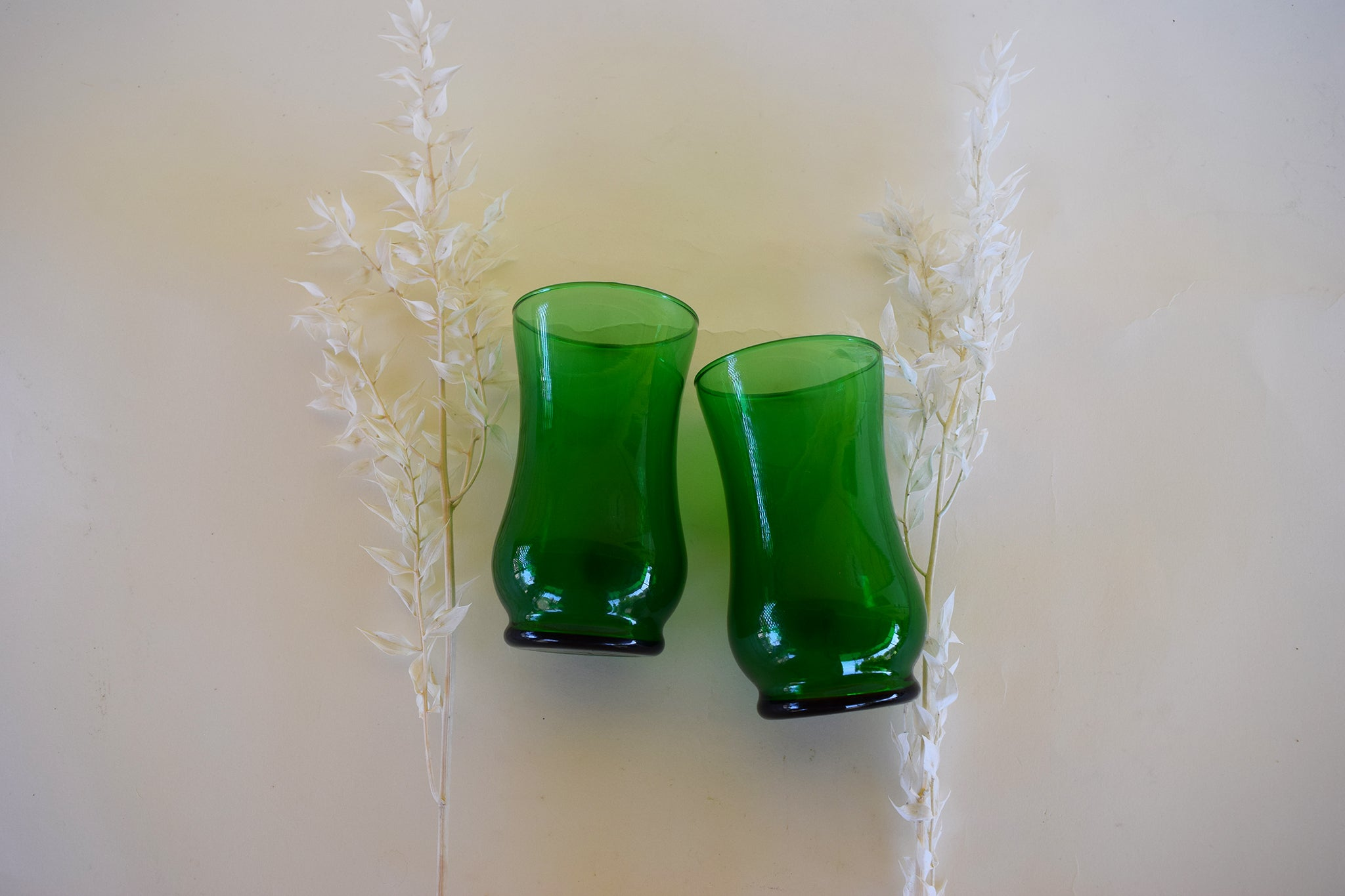 Vintage Green Glass Pair