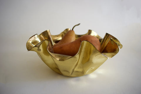 Large Scalloped Brass Bowl