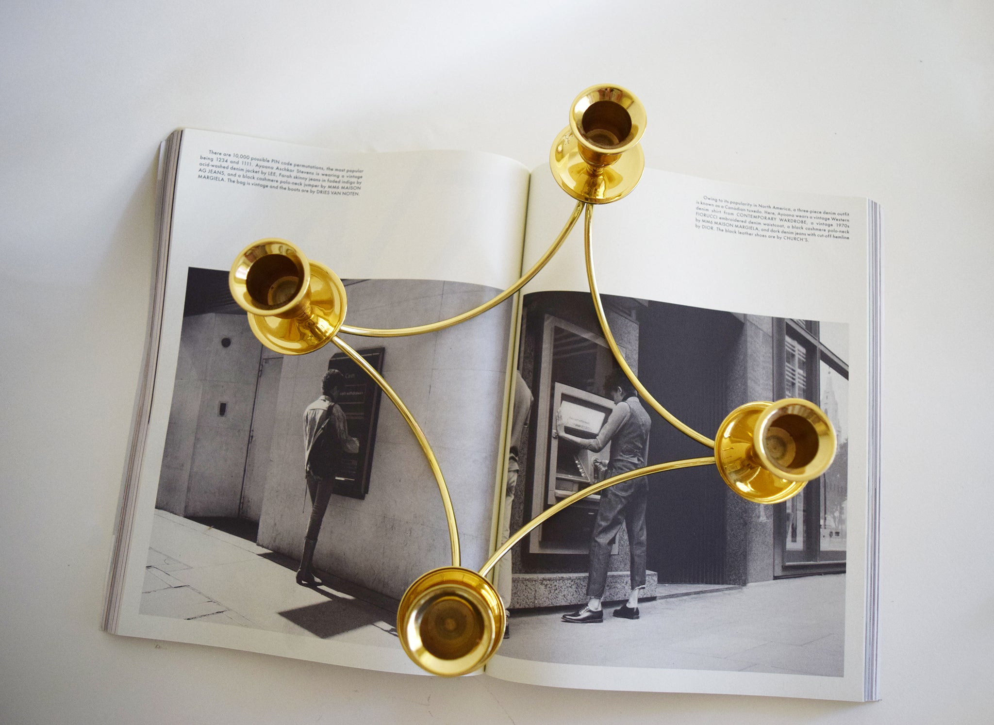Vintage Brass Candle Centerpiece