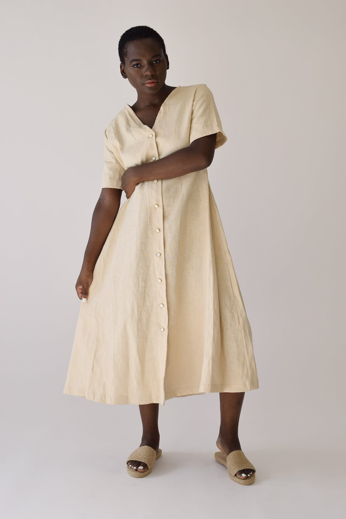 Ecru Linen Carina Dress