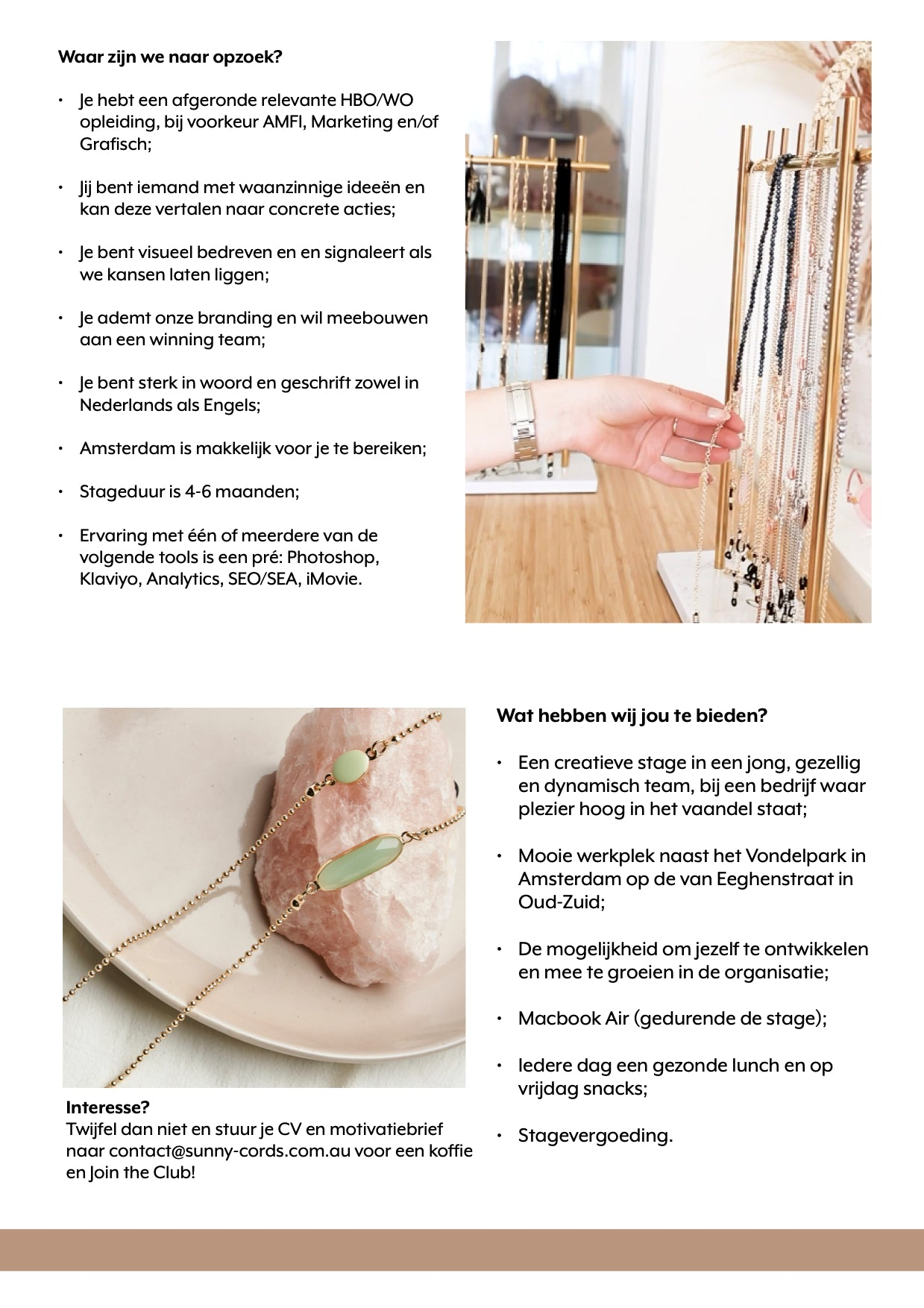 Vacature Sunny Cords
