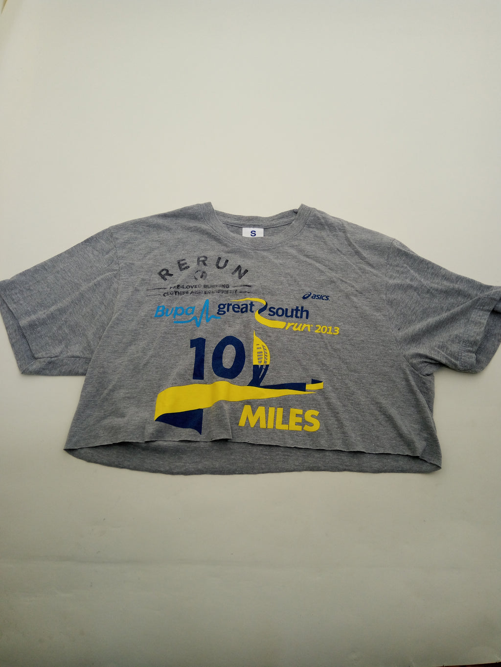 Up-Cycled Crop Top Race Tee Size S