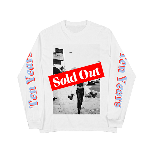 TEN YEARS THROWBACK WHITE LONG SLEEVE TEE