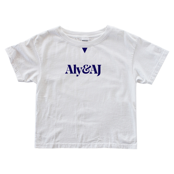 Aly & AJ 'Blue Logo' Ladies White Tee
