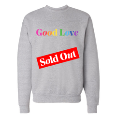 Good Love Rainbow Embroidered Grey Crewneck Sweatshirt