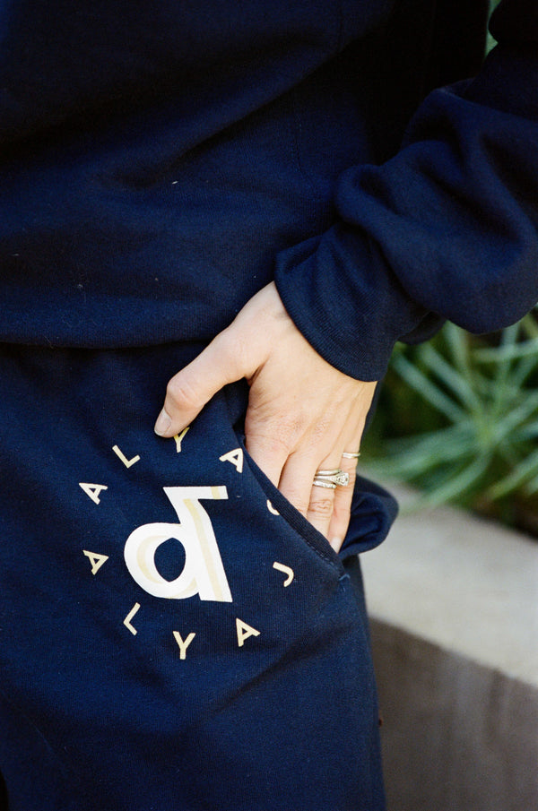 Aly & AJ 'Ampersand' Navy Sweat Pants