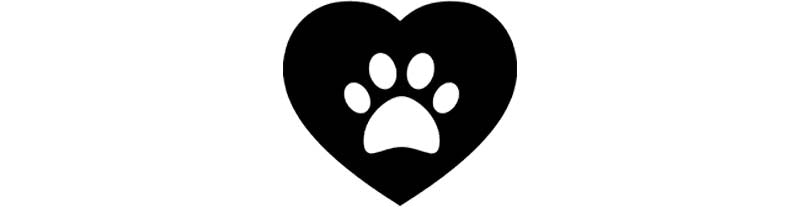 Heart with dog paw icon image.