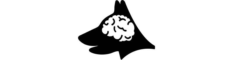 Dog with big brain icon image.