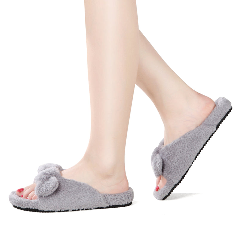 Open Toe Slipper With Anti-Skid - Soft Plush