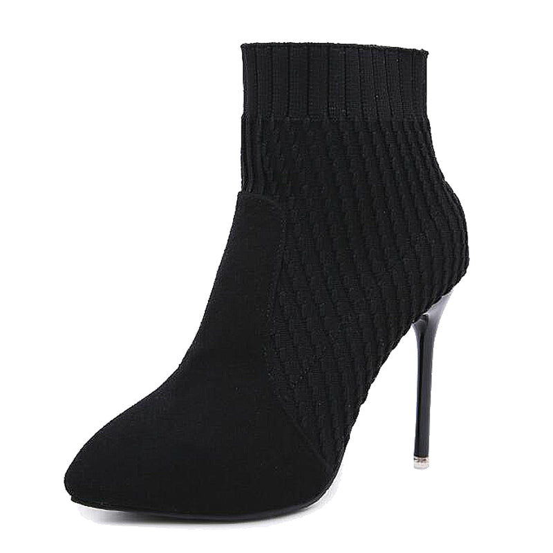Stretch Knitted Sock Ankle Boots