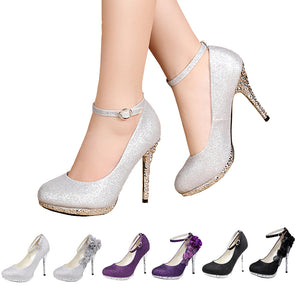 6b224911e1e Flowers Glitter Sequins Strappy Closed Toes Dress Wedding Shoes
