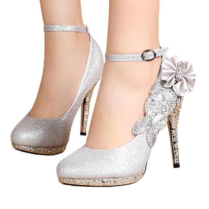 Glitter Strappy Heel Sandals - Wedding Shoes