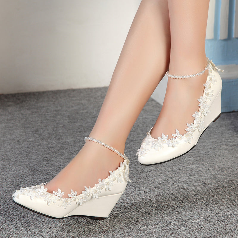 getmorebeauty Women's Wedge Flowers Pearls Mary Janes Princess Wedding Bridal Shoes