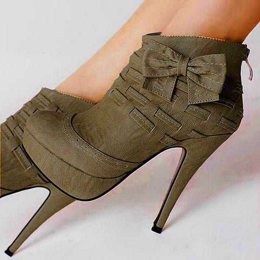 Noble Bows Platform High Heel Ankle Booties | Getmorebeauty