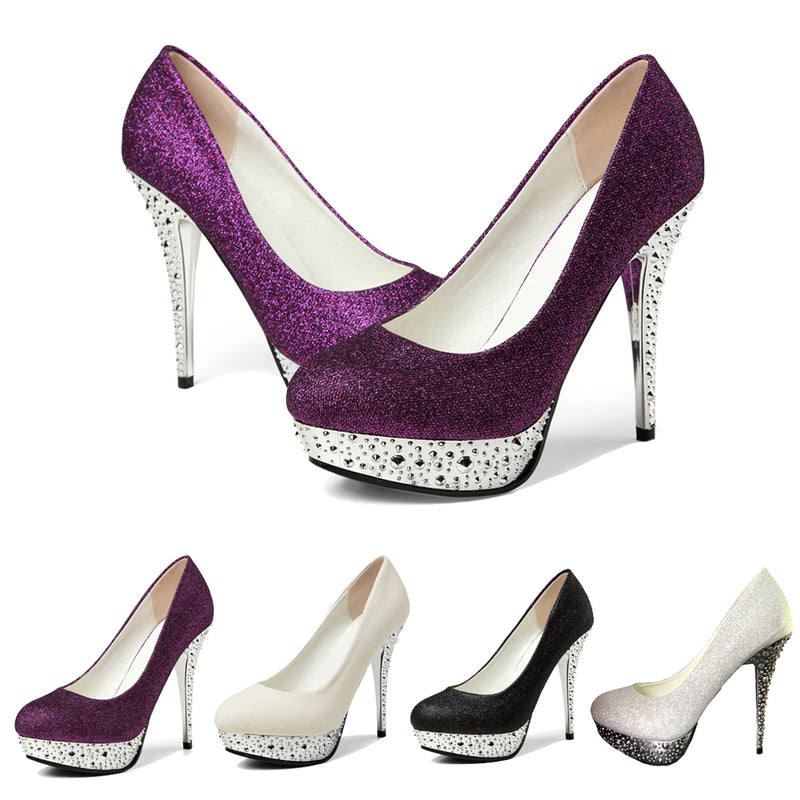 getmorebeauty Women's Glitter Stiletto Wedding High Heels Gorgeous Dress Shoes Heels Pumps