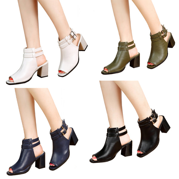getmorebeauty Women's Vintage peep Toes Cutout Chunky Stacked Heel Sandals Straps Ankle Bootie