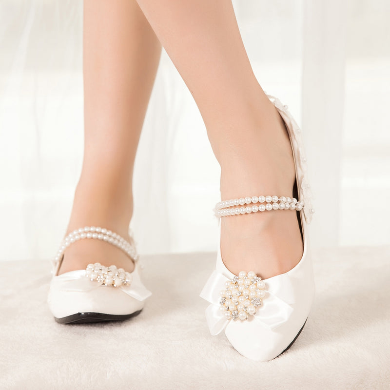getmorebeauty Women's Mary Jane Flats With Pearls Bows Flowers Low Heels Dress Wedding Shoes