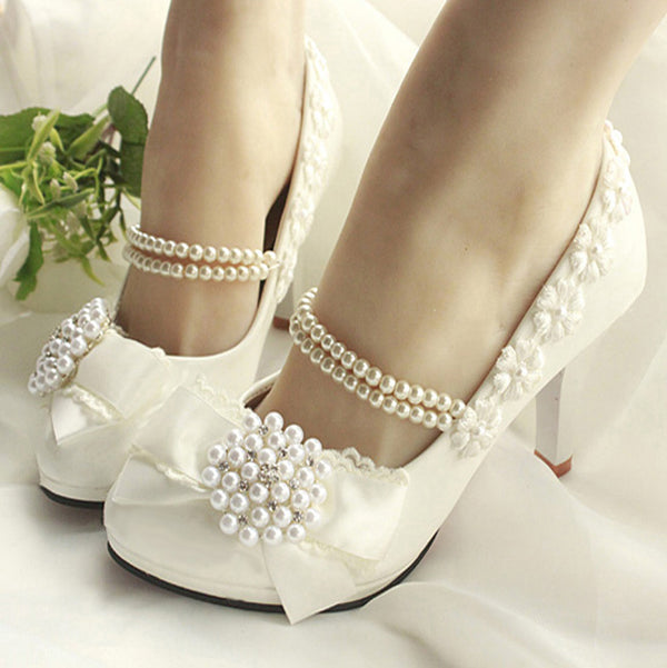 getmorebeauty Women's With Pearls Bows Across Ankle Top High Heel Wedding Shoes