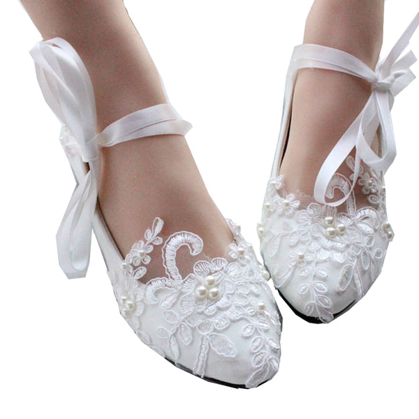 getmorebeauty Women's Mary Jane Flats Bride Shoes Pearls Straps Lace Belt Dress Wedding Shoes