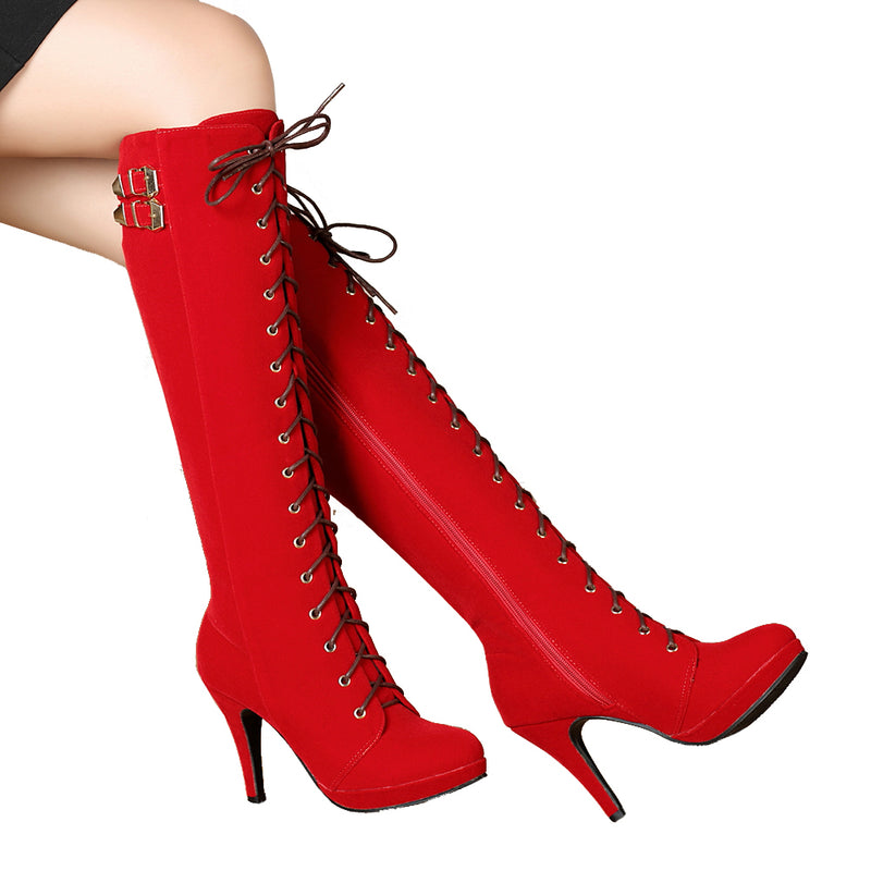 Lace Up Knee High Heel Boots | Getmorebeauty