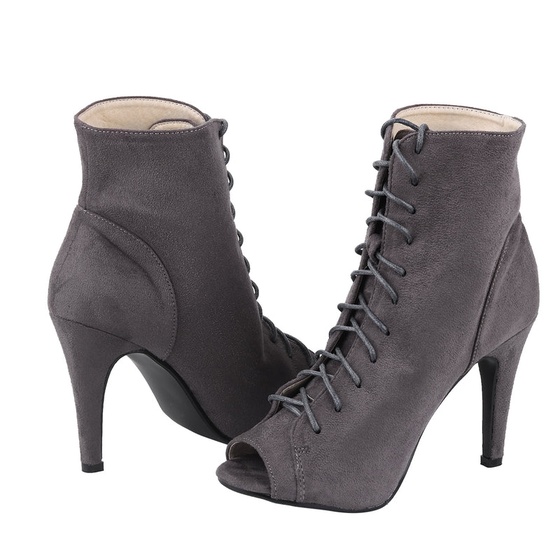 Lace Up Peep Toe Booties - Sexy