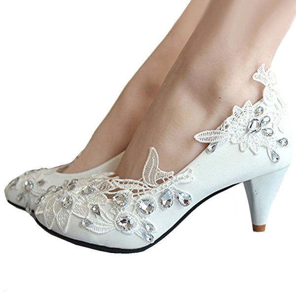 getmorebeauty Women's Kitten Heel Lace Pearls Glitter Wedding Shoes bridesmaids Shoes