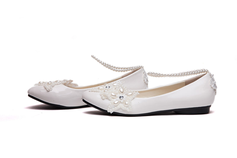 getmorebeauty Women's Mary Jane Flats With Pearls Bows Across Tops Dress Wedding Shoes