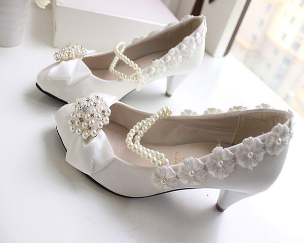 getmorebeauty Women's With Pearls Lace Weave Flower Mid Kitten Heel Wedding Shoes