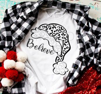 Believe Leopard Santa Hat Screen