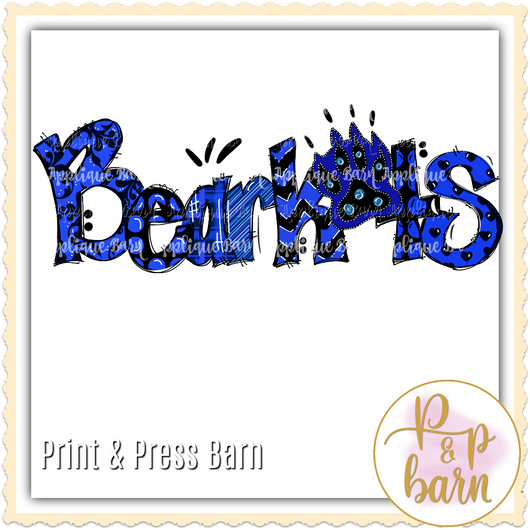 Bearkats Paw Word Art- Blue Black