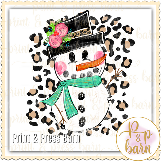 Snowman with Leopard background