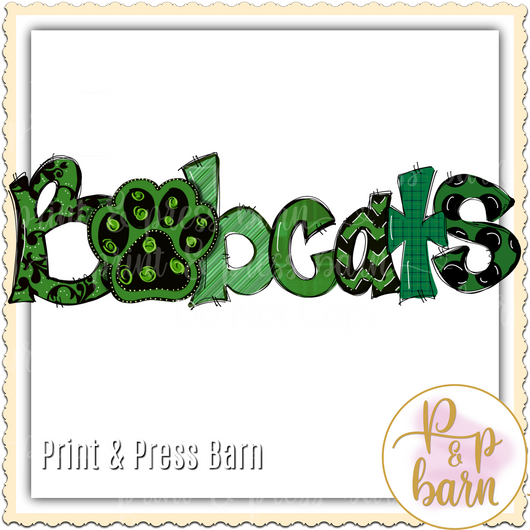 Bobcats Paw Word Art- Green, Black and  White