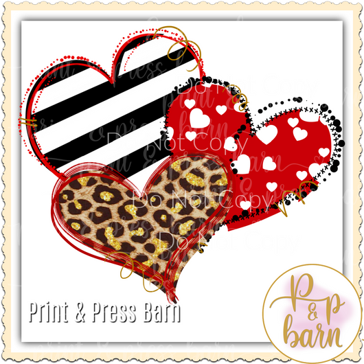 Stripe Leopard Heart trio