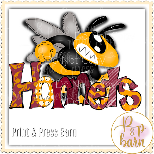 Hornets Word Doodle- Maroon and yellow