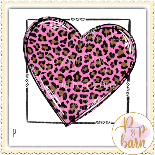 Leopard Heart Box- Pink