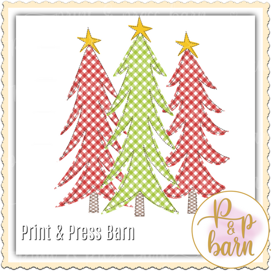 Red Green gingham trees