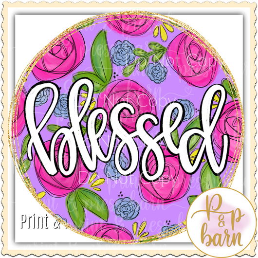 Blessed Flower Circle Frame